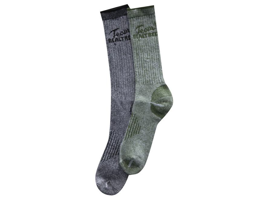 Team Realtree Men's All Season Lightweight Tall Boot Socks Wool Blend Olive and Black Large 9-13 Pack of 2