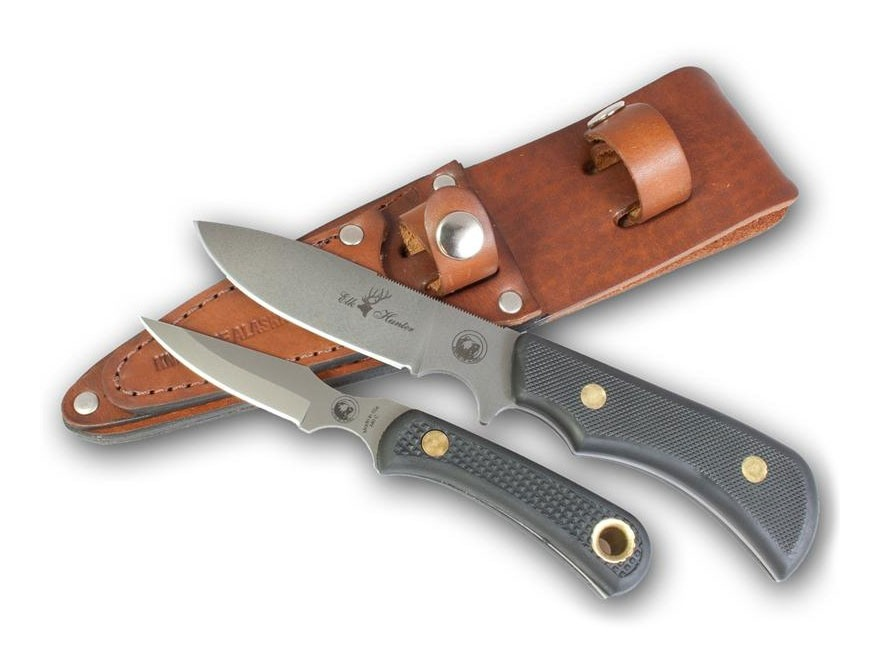 Knives of Alaska Trekker Elk Hunter/Cub Bear Combination Fixed Blade Knife Set D2 Tool Steel Blades SureGrip Handle Black