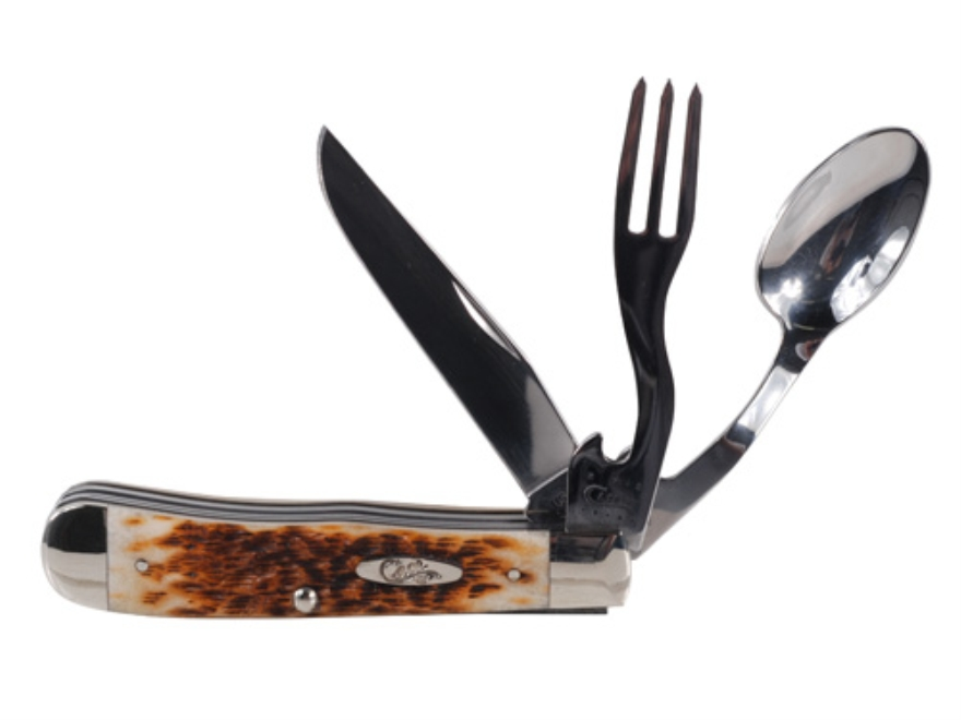 Case Hobo Folding Knife Clip, Fork, and Spoon Stainless Steel Blades Amber Bone Handle