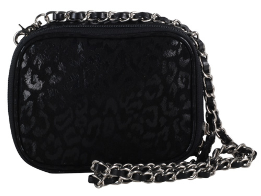 Gun Tote'N Mamas Evening Pouch Handbag Leather Black with Leopard Print