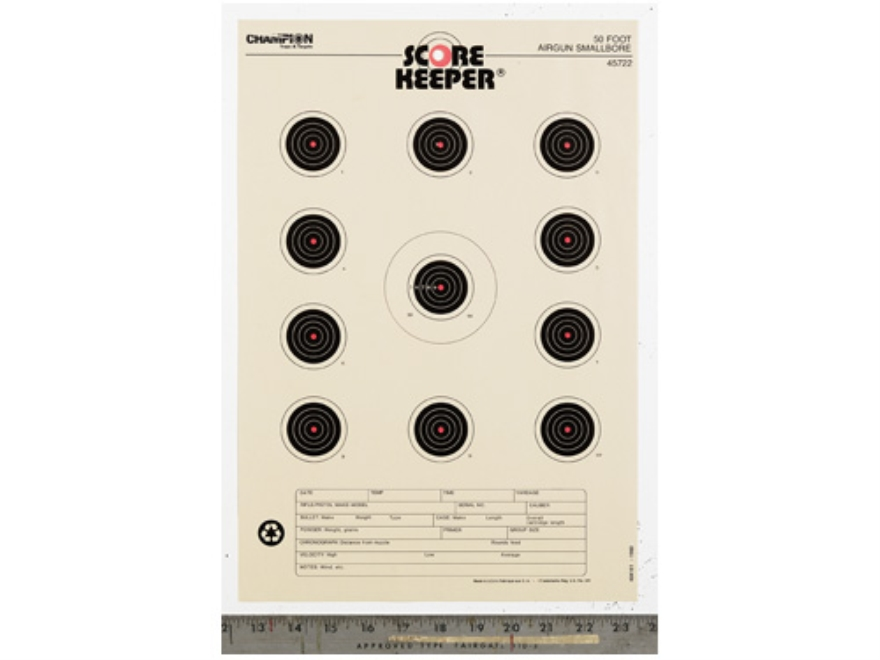 "Champion Score Keeper 50 Ft Air Gun Small Bore Targets 11"" x 16"" Paper Orange Bull Pack of 12"