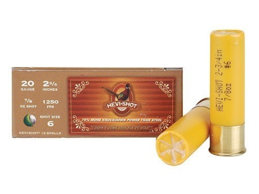 "Hevi-Shot Pheasant Ammunition 20 Gauge 2-3/4"" 7/8 oz #6 Non-Toxic Shot Box of 10"
