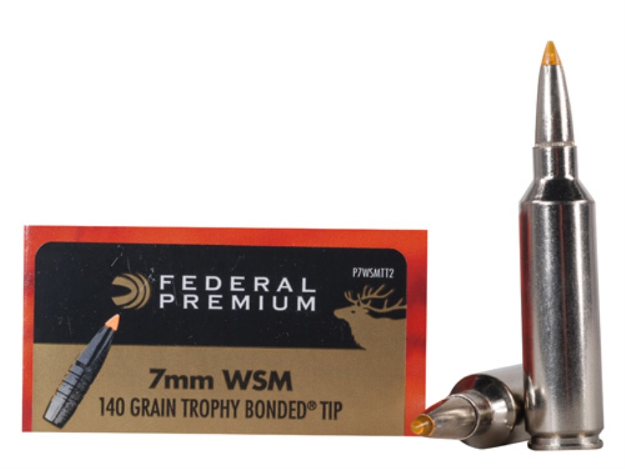 Federal Premium Vital-Shok Ammunition 7mm Winchester Short Magnum (WSM) 140 Grain Trophy Bonded Tip Box of 20