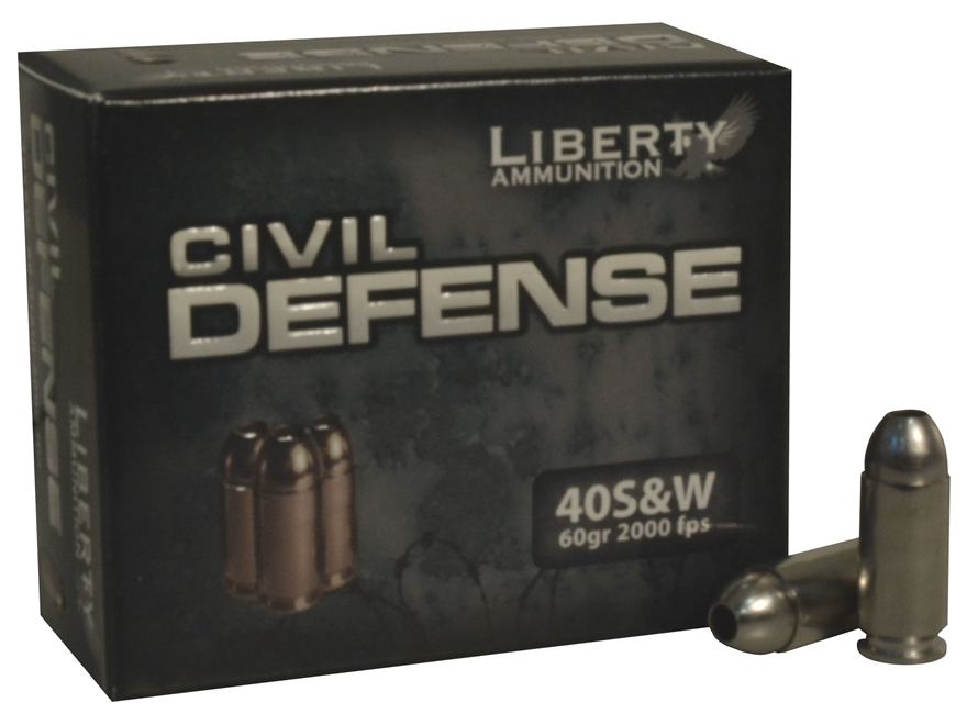 Liberty Civil Defense Ammunition 40 S&W 60 Grain Fragmenting Hollow Point Lead-Free Box of 20