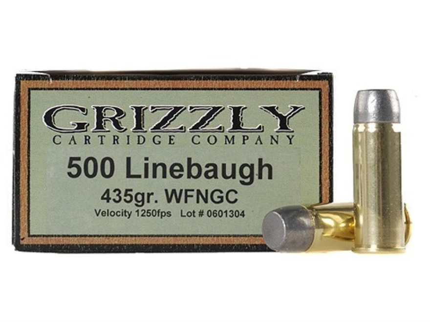 Grizzly Ammunition 500 Linebaugh 435 Grain Cast Performance Lead Wide Flat Nose Gas Che...
