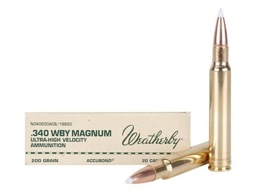 Weatherby Ammunition 340 Weatherby Magnum 200 Grain Nosler AccuBond Box of 20