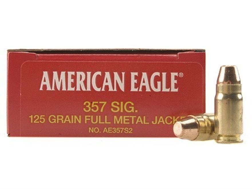 Federal American Eagle Ammunition 357 Sig 125 Grain Full Metal Jacket Box of 50