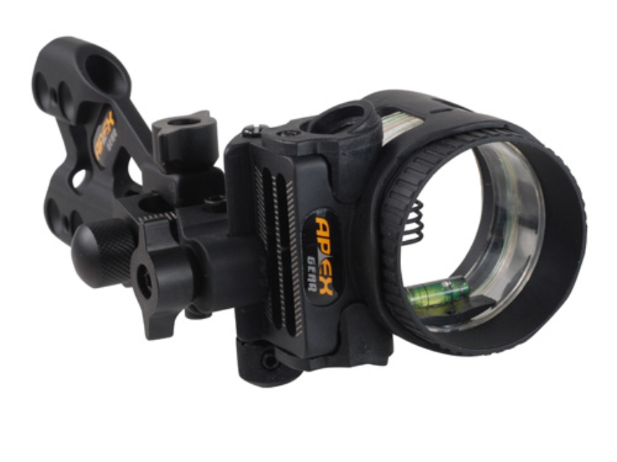 "Apex Gear AG Axim 4 Light 4-Pin Bow Sight .019"" Diameter Pin Ambidextrous Aluminum Black"