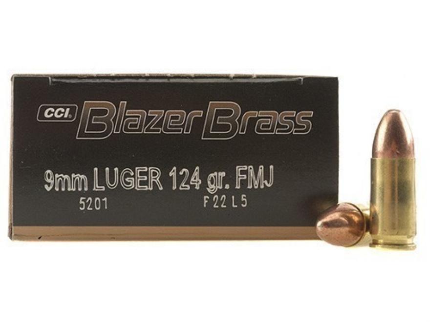 CCI Blazer Brass Ammunition 9mm Luger 124 Grain Full Metal Jacket