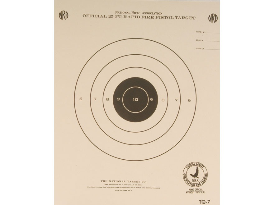 NRA Official Pistol Targets TQ-7 25' Timed and Rapid Fire Paper Package of 100