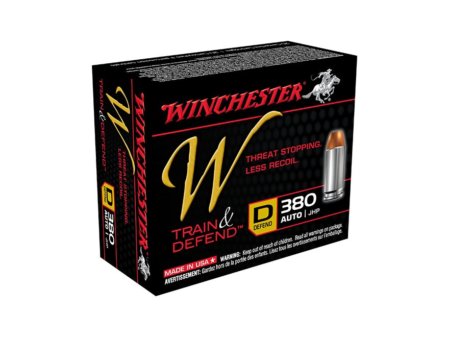 Winchester W Defend Reduced Recoil Ammunition 380 ACP 95 Grain Jacketed Hollow Point
