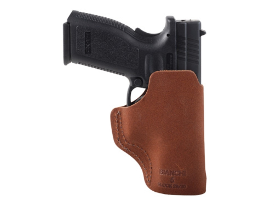 Bianchi 6 Inside the Waistband Holster Glock 29. 30, 39, HK USP Compact, Springfield XD9, XD40 Suede Leather Natural