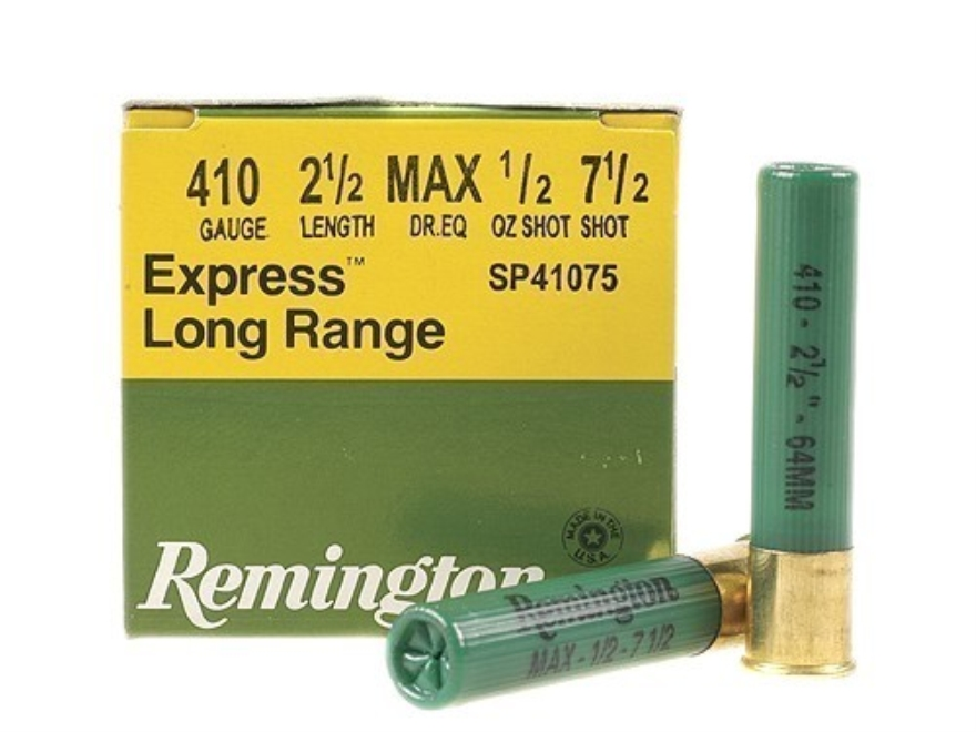 "Remington Express Extra Long Range Ammunition 410 Bore 2-1/2"" 1/2 oz #7-1/2 Shot Box of 25"