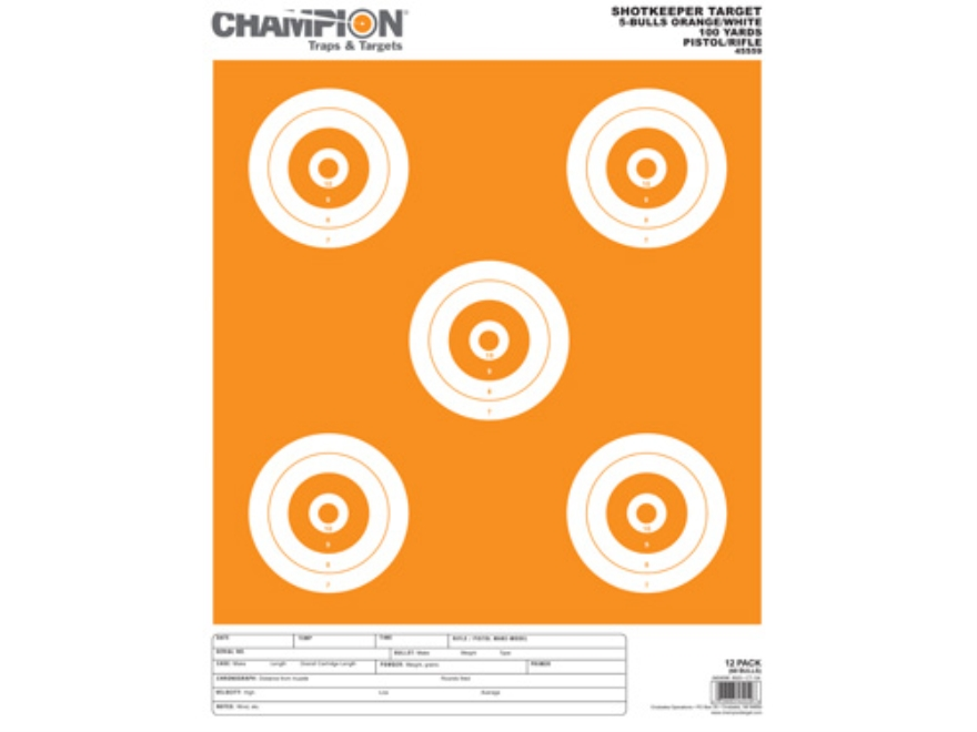 "Champion ShotKeeper 5 Large Bullseye Targets 11"" x 16"" Paper White/Orange Bull Pack of 12"