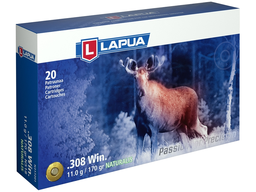 Lapua Naturalis Ammunition 308 Winchester 170 Grain Round Nose Lead-Free Box of 20