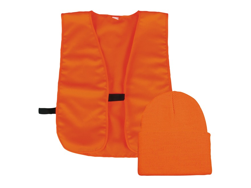 Outdoor Cap Safety Vest and Beanie Combo Polyester Blaze Orange