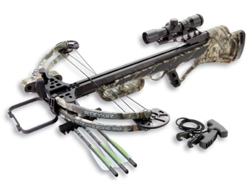 Stryker Strykezone 350 Crossbow Package with 3x 32mm Multi-Reticle Crossbow Scope Mossy Oak Treestand Camo