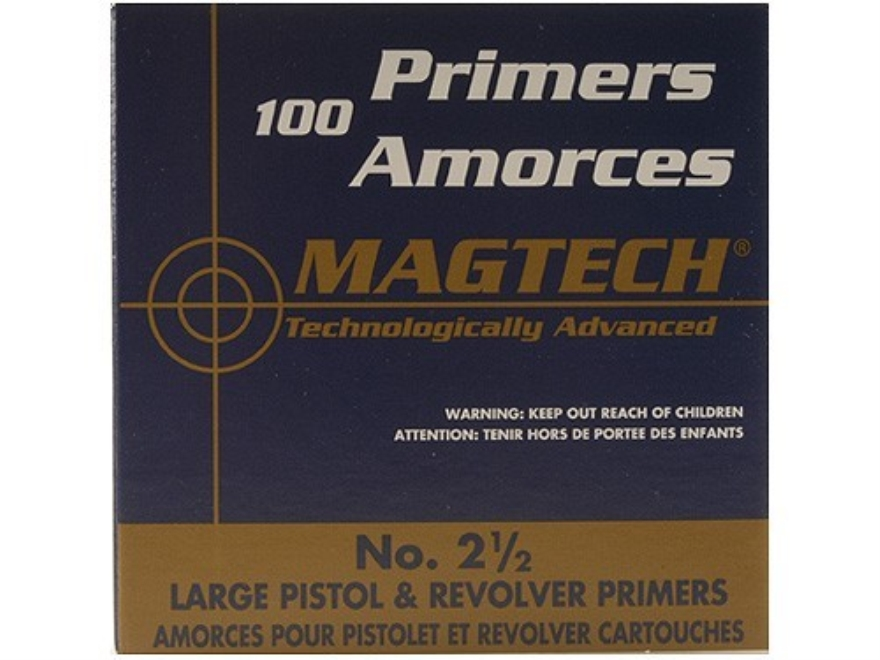Magtech Large Pistol Primers #2-1/2 Bag of 1000 (10 Trays of 100)