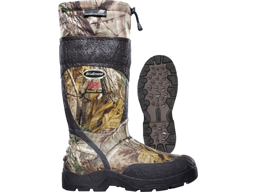 "LaCrosse Alpha SST 18"" Waterproof 2000 Gram Insulated Hunting Boots Rubber Clad Neoprene Realtree AP Camo Men's 7 D"