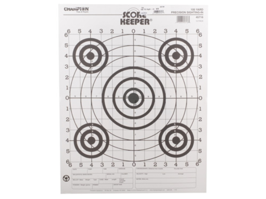 "Champion Score Keeper 100 Yard Small Bore Rifle Targets 14"" x 18"" Paper Black Bull Package of 100"