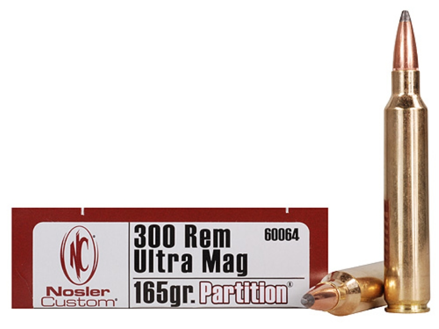 Nosler Trophy Grade Ammunition 300 Remington Ultra Magnum 165 Grain Partition Box of 20