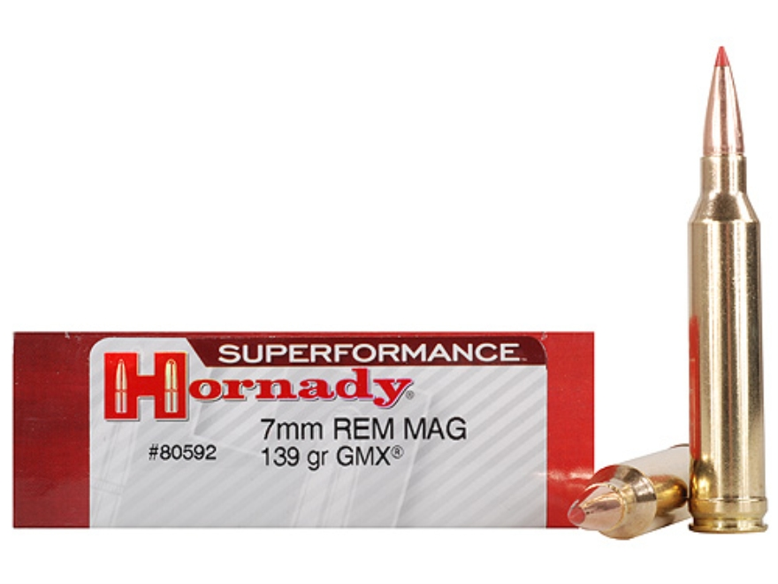 Hornady SUPERFORMANCE GMX Ammunition 7mm Remington Magnum 139 Grain Gilding Metal Expanding Boat Tail Lead-Free Box of 20