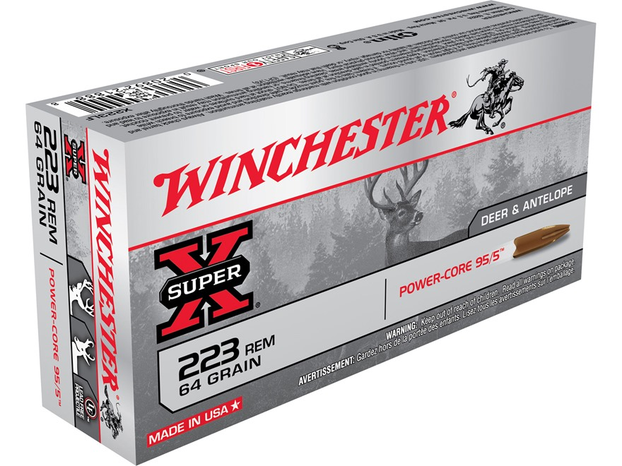 Winchester Super-X Power-Core 95/5 Ammunition 223 Remington 64 Grain Hollow Point Boat Tail Lead-Free