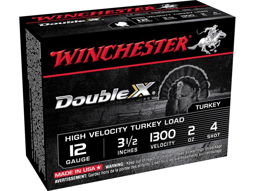 "Winchester Double X Turkey Ammunition 12 Gauge 3-1/2"" 2 oz #4 Copper Plated Shot"