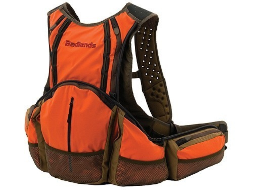 Badlands Upland Bird Vest Polyester Tan and Blaze Orange