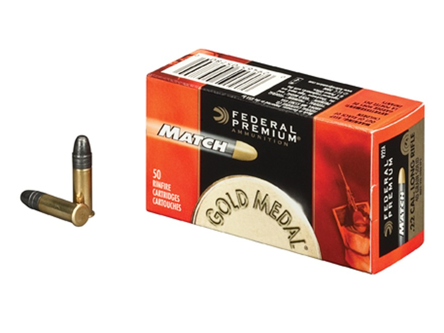 Federal Premium Gold Medal Ammunition 22 Long Rifle 40 Grain Lead Match