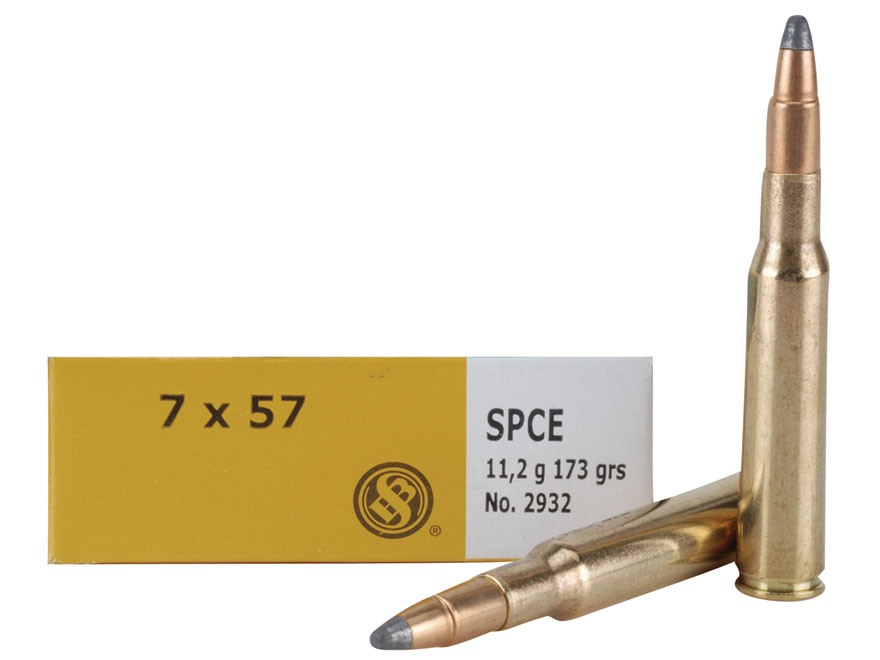 Sellier & Bellot Ammunition 7x57mm Mauser (7mm Mauser) 173 Grain Soft Point Cutted Edge Box of 20