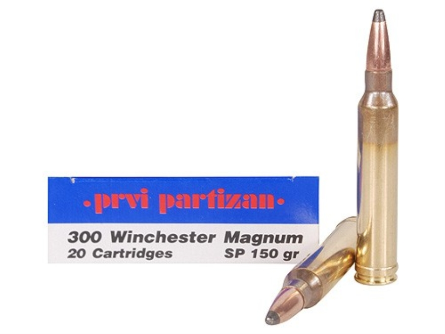 Prvi Partizan Ammunition 300 Winchester Magnum 150 Grain Soft Point Box of 20