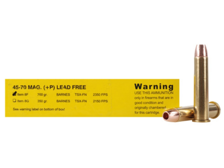Buffalo Bore Ammunition 45-70 Government 300 Grain Triple-Shock X Bullet Flat Nose Lead-Free Box of 20