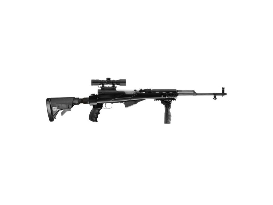 "Advanced Technology Ultimate Professional ""Plus"" Strikeforce 6-Position Collapsible Side Folding Rifle Stock with Aluminum Upgrade, Scorpion Recoil System & Vertical Grip SKS Black"