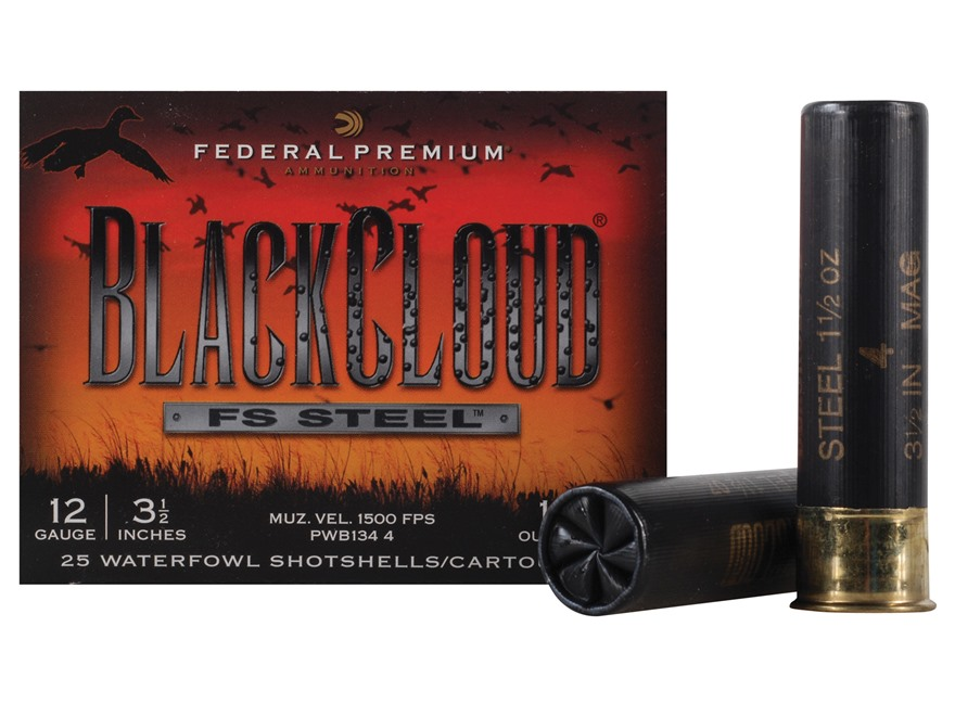 "Federal Premium Black Cloud Ammunition 12 Gauge 3-1/2"" 1-1/2 oz  #4 Non-Toxic FlightStopper Steel Shot"
