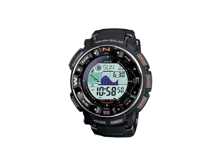 Casio Pro Trek Atomic Triple Sensor Solar Watch Resin Band Black