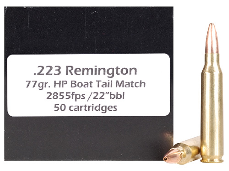 Doubletap Ammunition 223 Remington 77 Grain Nosler Custom Competition Hollow Point Boat Tail Box of 50