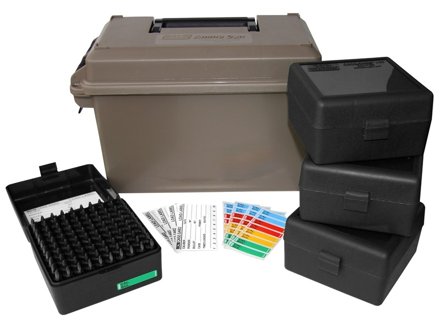 MTM Ammunition Can Combo 50 Caliber Plastic Dark Earth with 4 Flip-Top Ammo Boxes 17 Remington, 204 Ruger, 223 Remington 100-Round Plastic Black