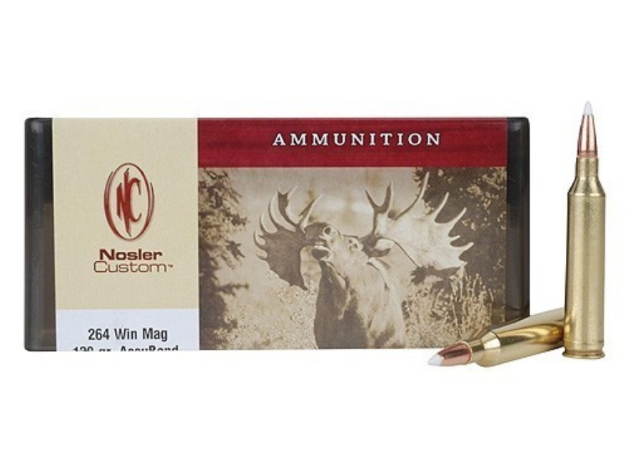 Nosler Custom Ammunition 264 Winchester Magnum 130 Grain AccuBond Spitzer Box of 20