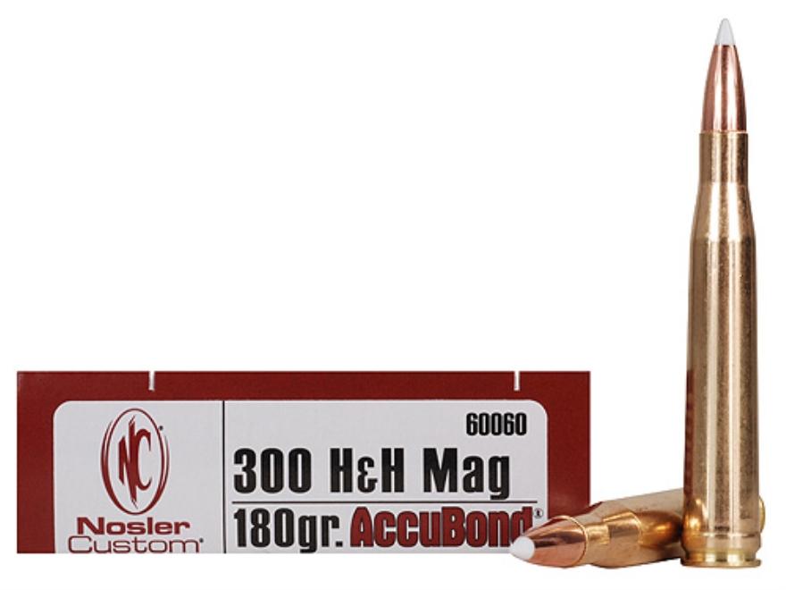Nosler Trophy Grade Ammunition 300 H&H Magnum 180 Grain AccuBond Box of 20
