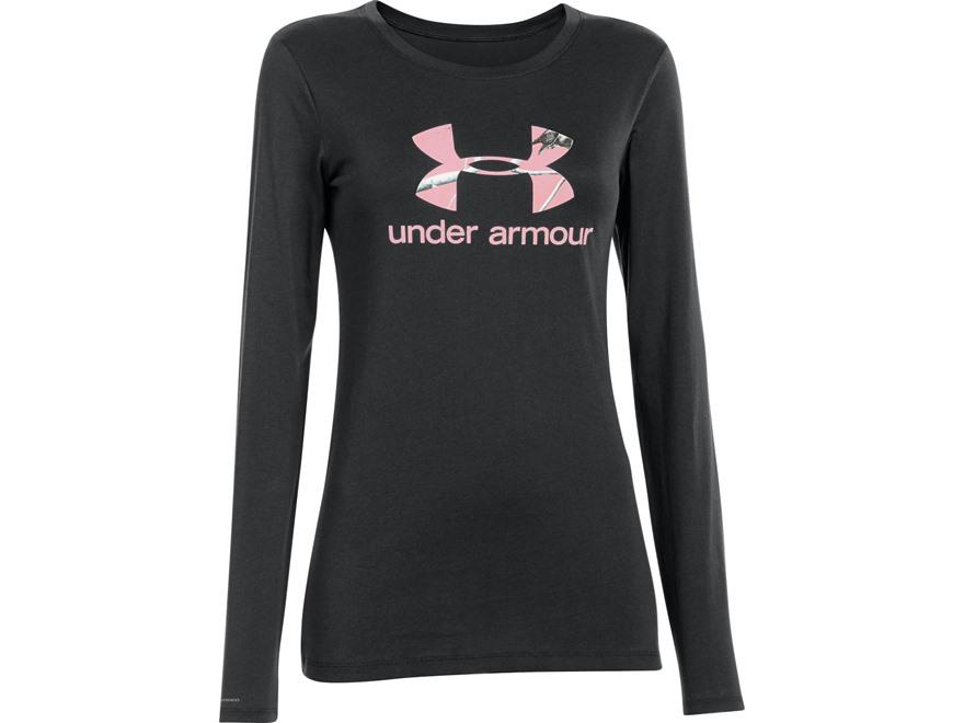 Under armour women 39 s camo fill logo t shirt long sleeve cotton for Under armour long sleeve t shirts women