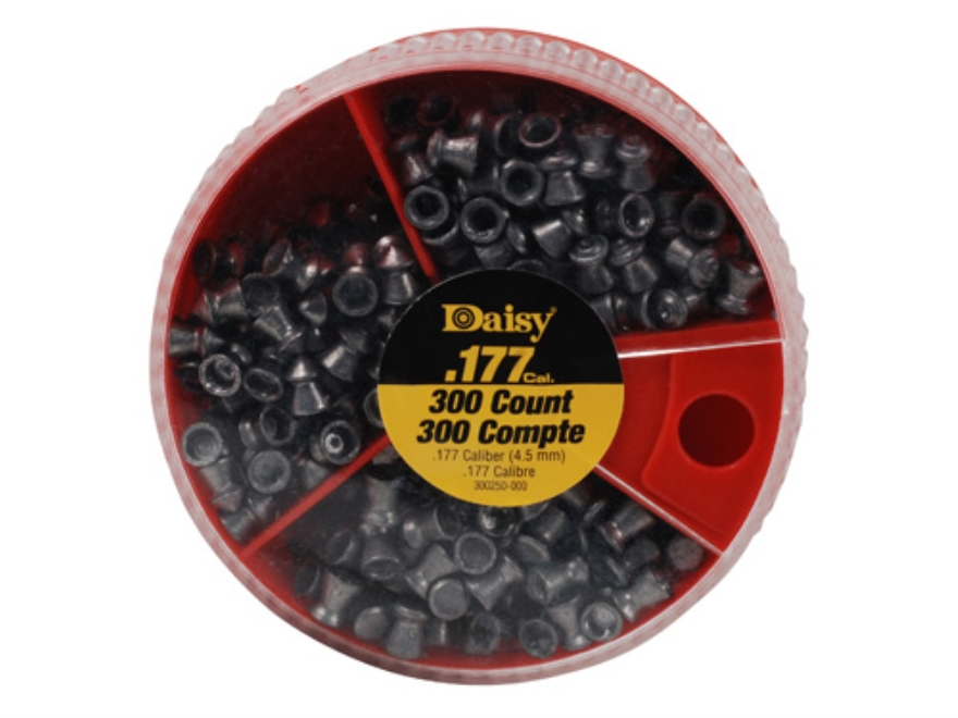 Daisy Dial a Pellet Airgun Pellets 177 Caliber 7.29 Grain (100 Flat, 100 Pointed and 100 Hollow Point)