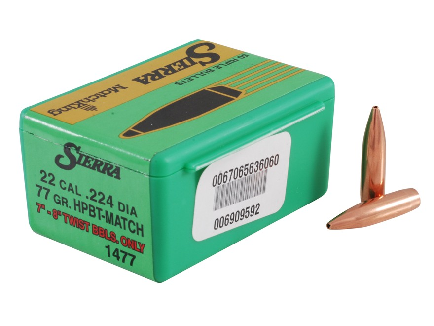 Sierra MatchKing Bullets 22 Caliber (224 Diameter) 77 Grain Hollow Point Boat Tail
