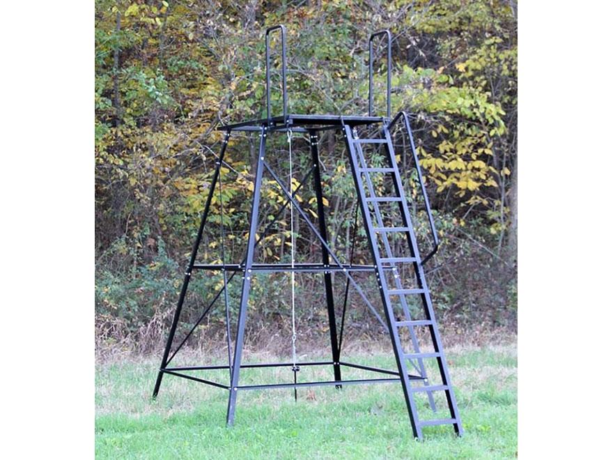 Redneck blinds 10 39 elevated blind platform steel for Deer stand steps