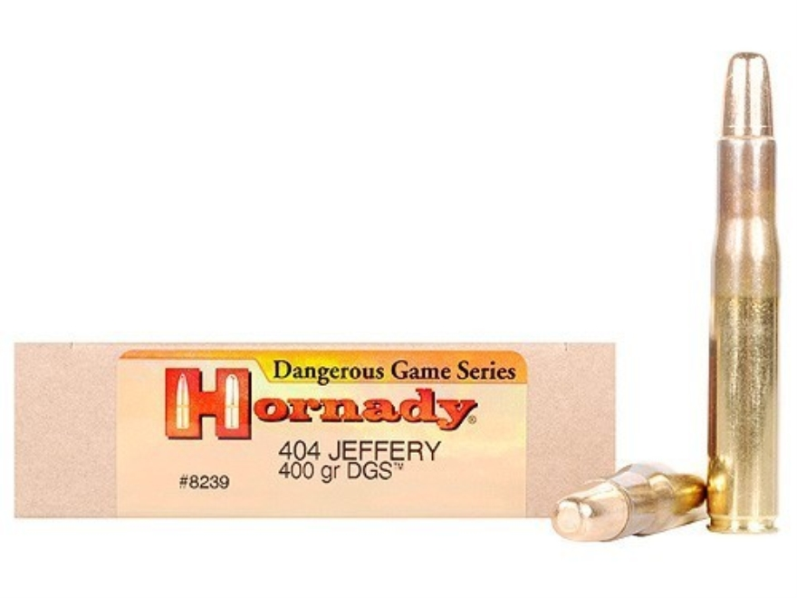 Hornady Dangerous Game Ammunition 404 Jeffery 400 Grain DGS Flat Nose Solid Box of 20