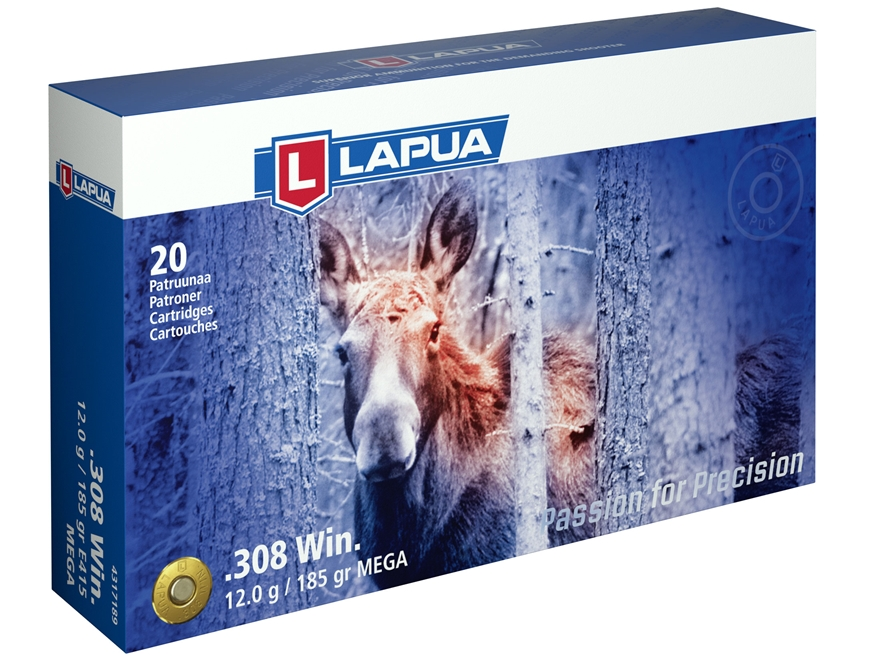 Lapua Mega Ammunition 308 Winchester 185 Grain Soft Point Box of 20