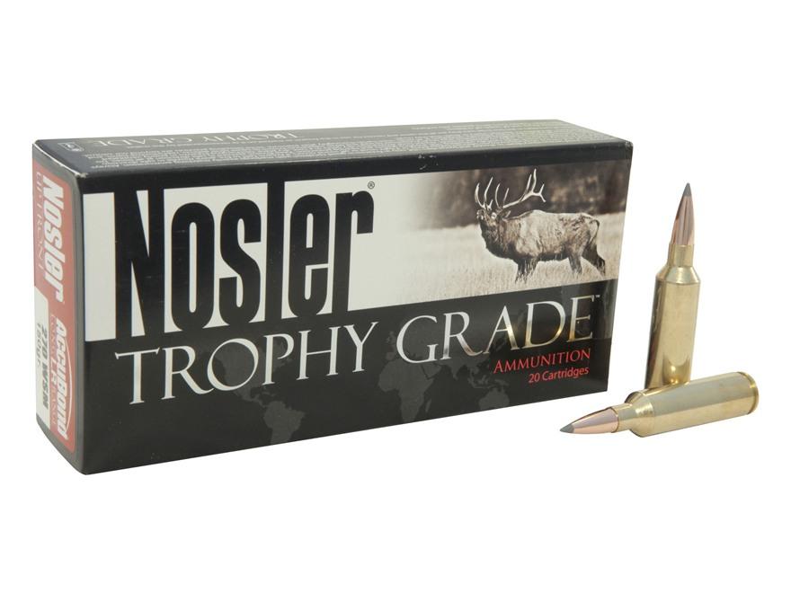 Nosler Trophy Grade Ammunition 270 Winchester Short Magnum (WSM) 150 Grain AccuBond Long Range Box of 20