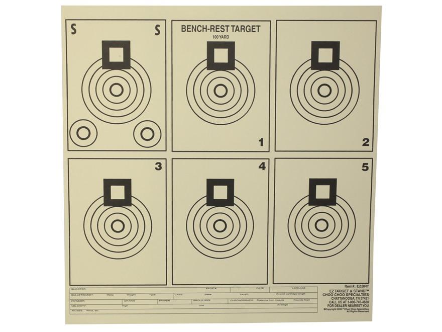 """EZ Target Bench Rest Practice Target 11.25"""" x 11.25"""" Paper Package of 20"""