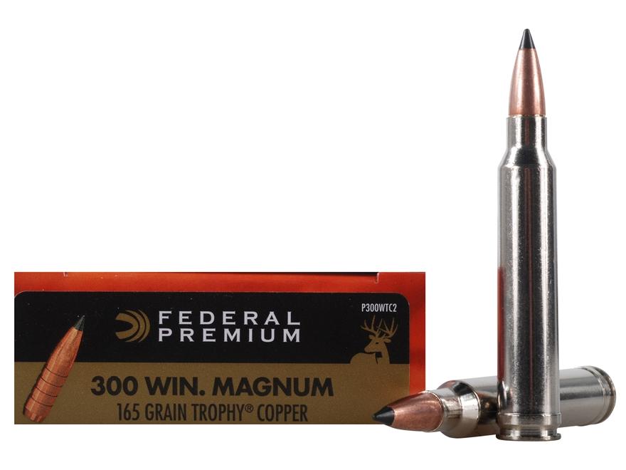 Federal Premium Vital-Shok Ammunition 300 Winchester Magnum 165 Grain Trophy Copper Tip...