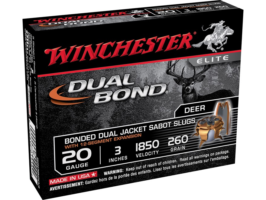 "Winchester Dual Bond Ammunition 20 Gauge 3"" 260 Grain Jacketed Hollow Point Sabot Slug Box of 5"
